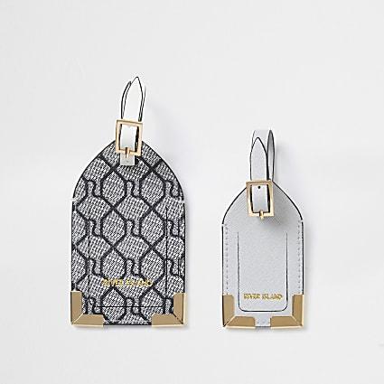 Grey RI Monogram Luggage Tags