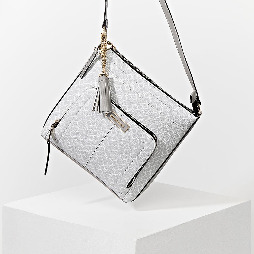 Grey RI monogram messenger bag