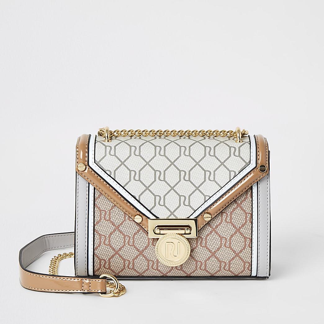 Grey RI monogram mini cross body Handbag