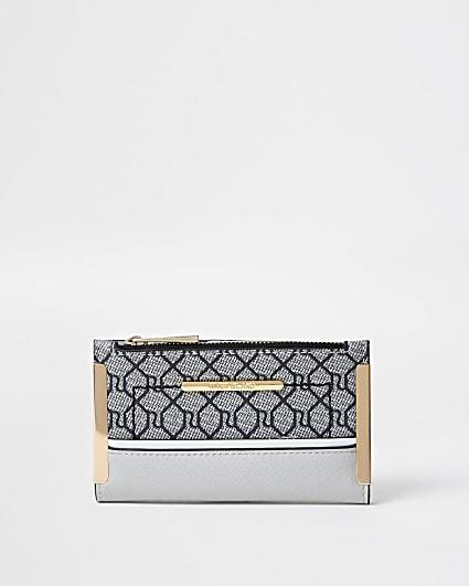 Grey RI monogram mini foldout purse
