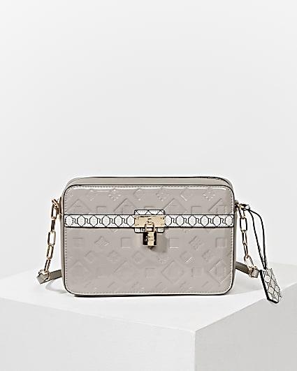 Grey RI monogram padlock boxy crossbody bag