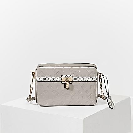 Grey RI monogram padlock boxy handbag