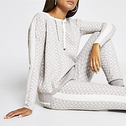 Grey RI monogram print hoodie