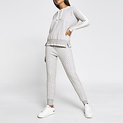Grey RI monogram print joggers