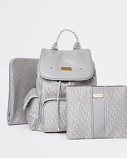 Grey RI monogram print maternity backpack