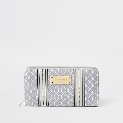 Grey RI monogram print purse