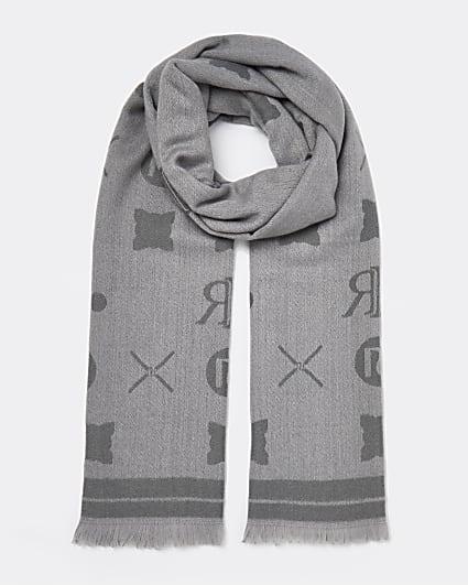 Grey RI monogram print scarf