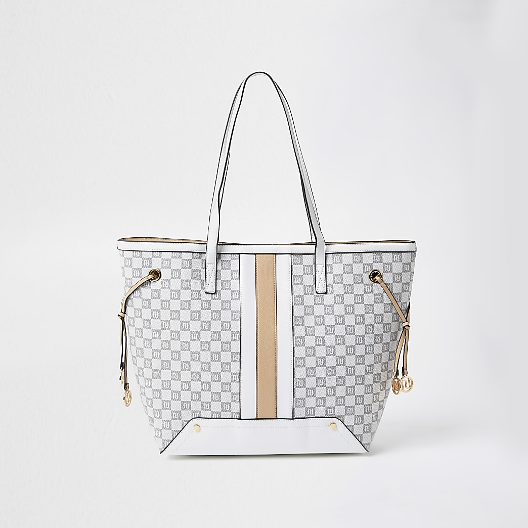 Grey RI monogram print shopper Handbag