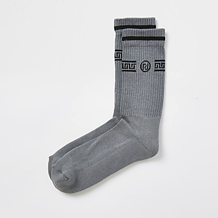 Grey RI monogram print socks