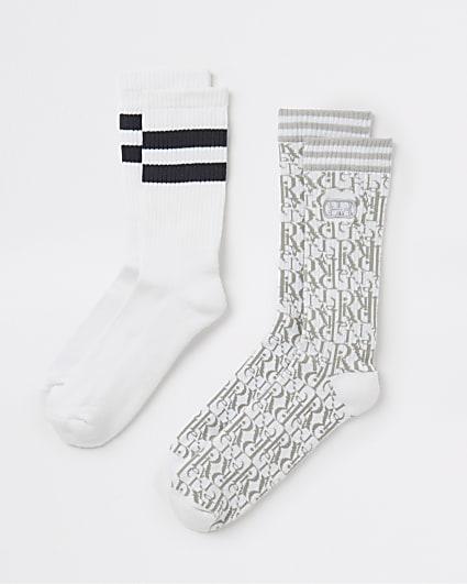 Grey RI monogram print stripe socks 2 pack