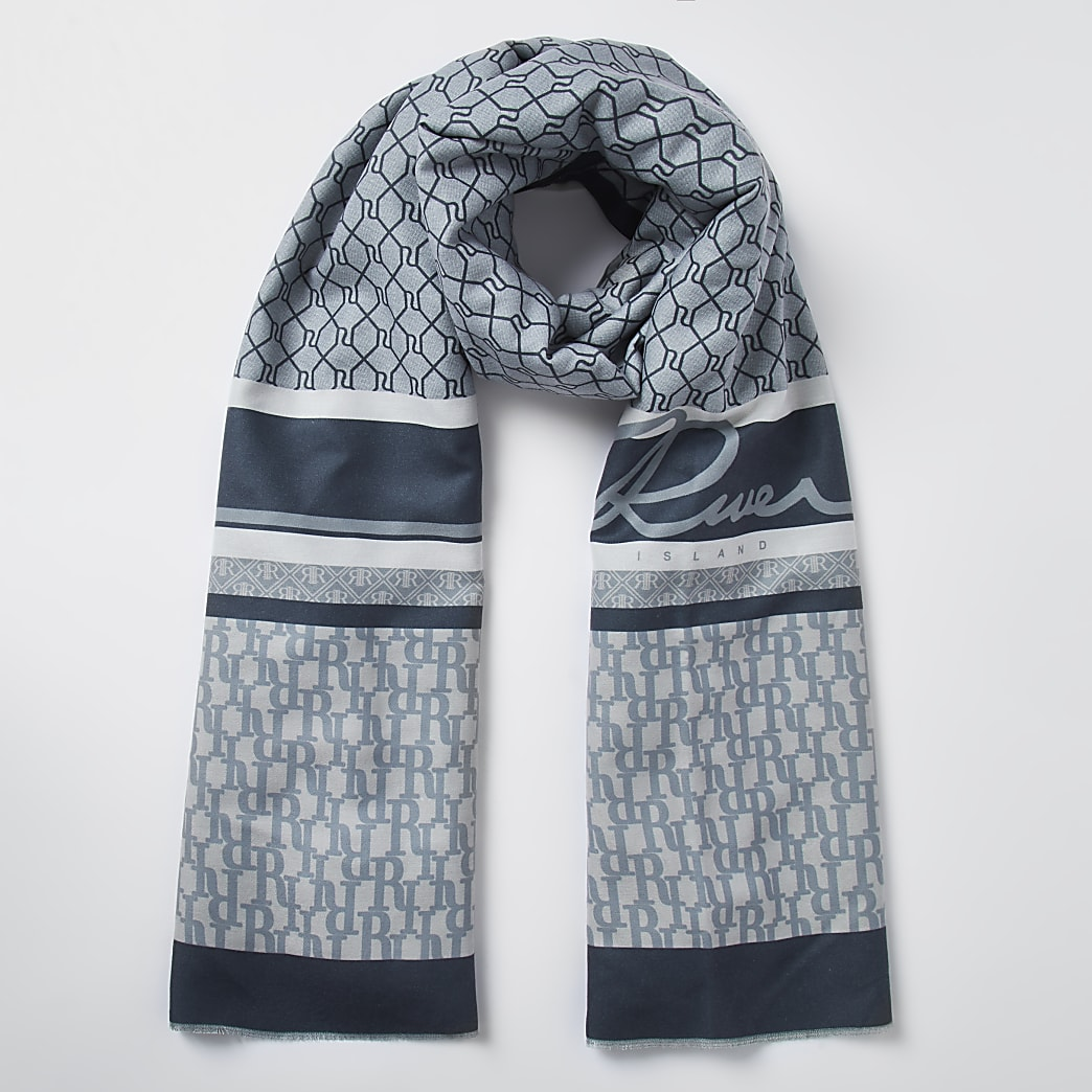 Grey RI monogram scarf
