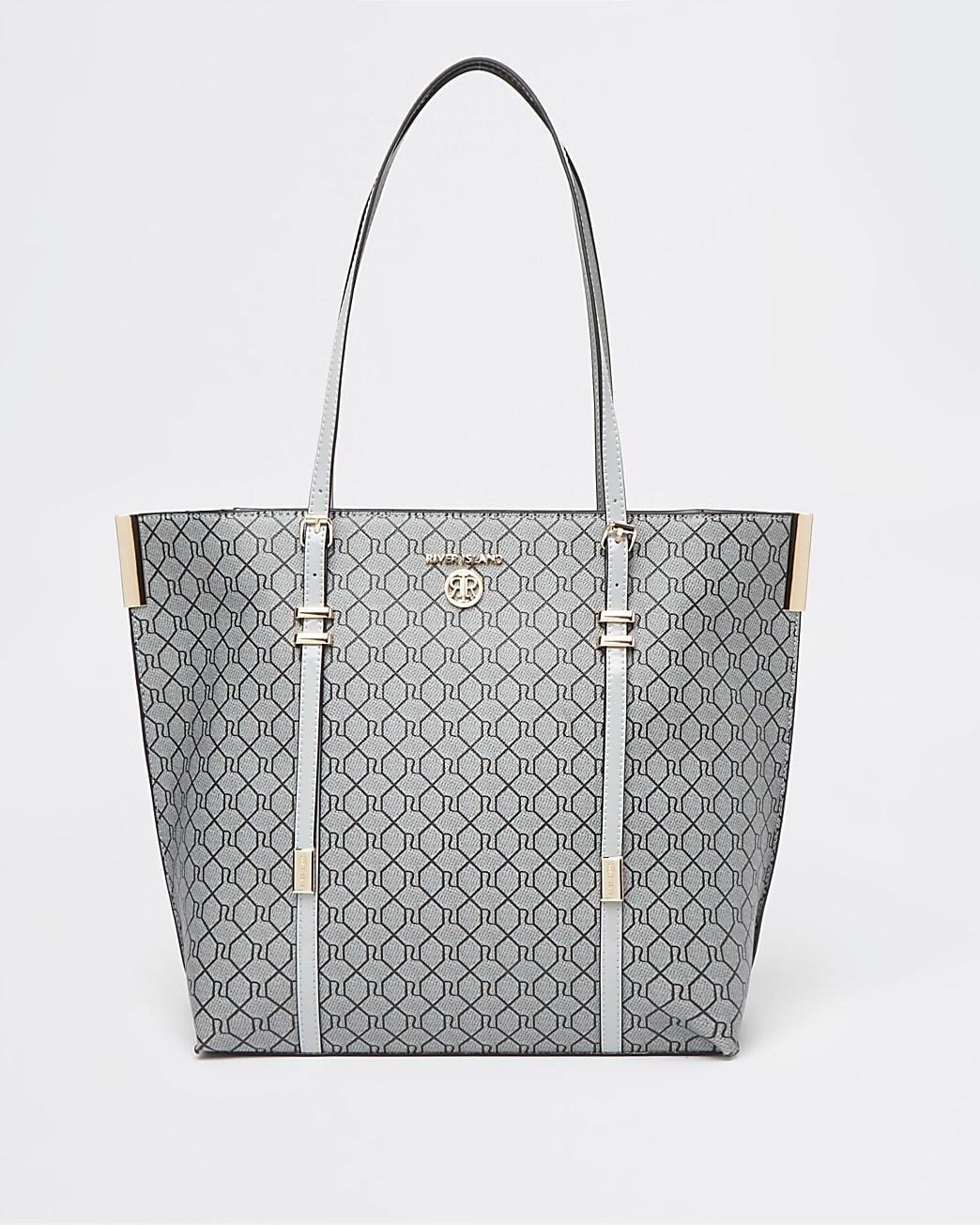 Grey RI monogram shopper bag
