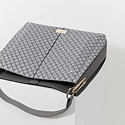 Grey RI monogram slouch handbag