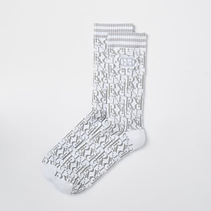 Grey RI monogram socks