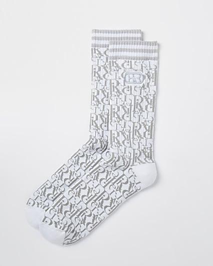 Grey RI monogram socks