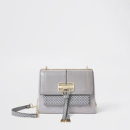 Grey RI monogram tassel satchel bag