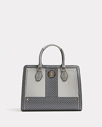 Grey RI monogram tote bag