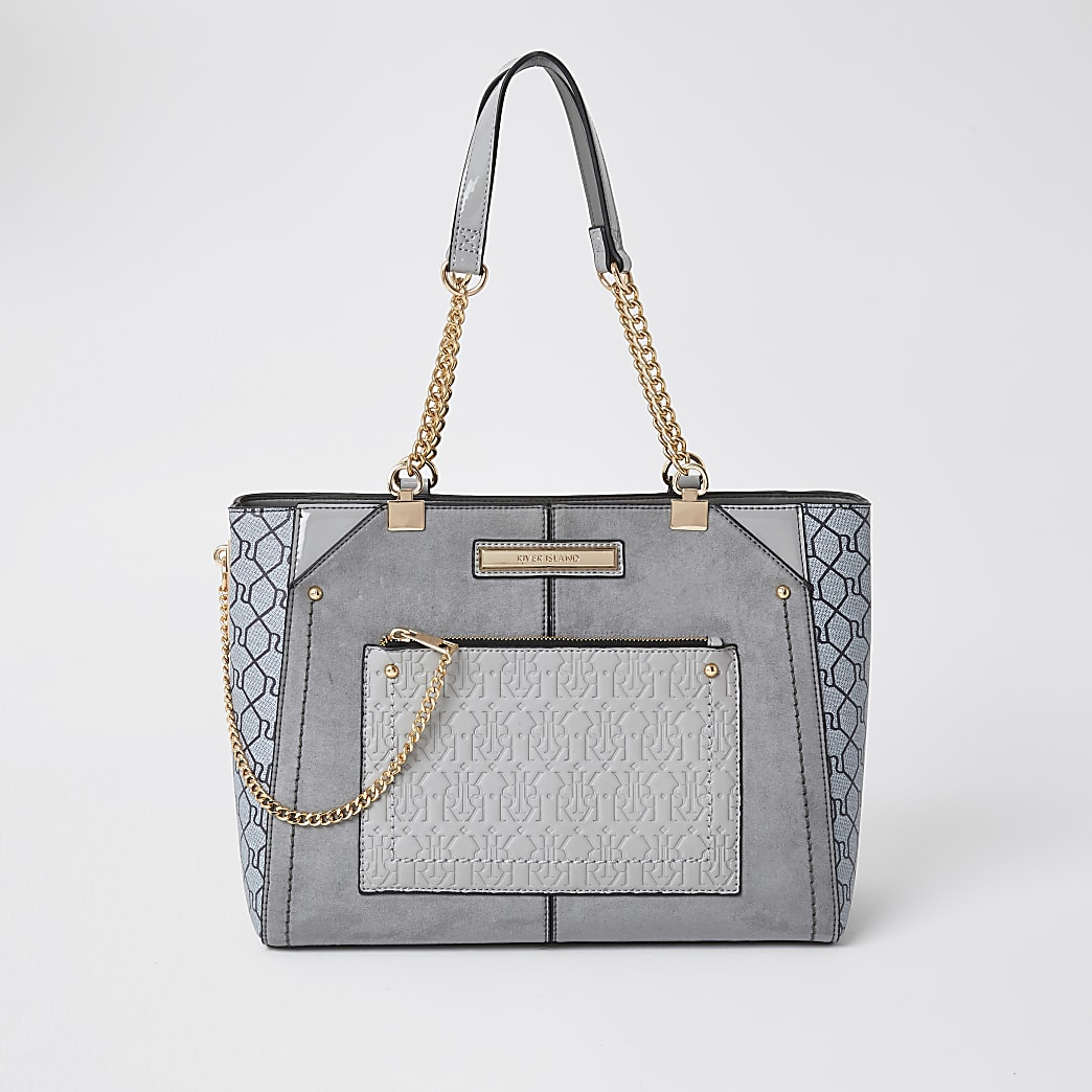 Grey RI monogram tote handbag