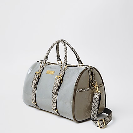 Grey RI Monogram weekend duffle bag