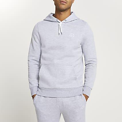 Grey RI muscle fit hoodie