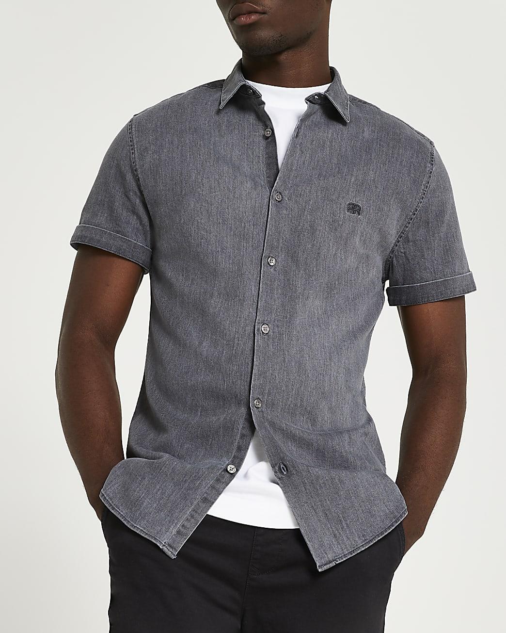 Grey RI muscle fit short sleeve denim shirt