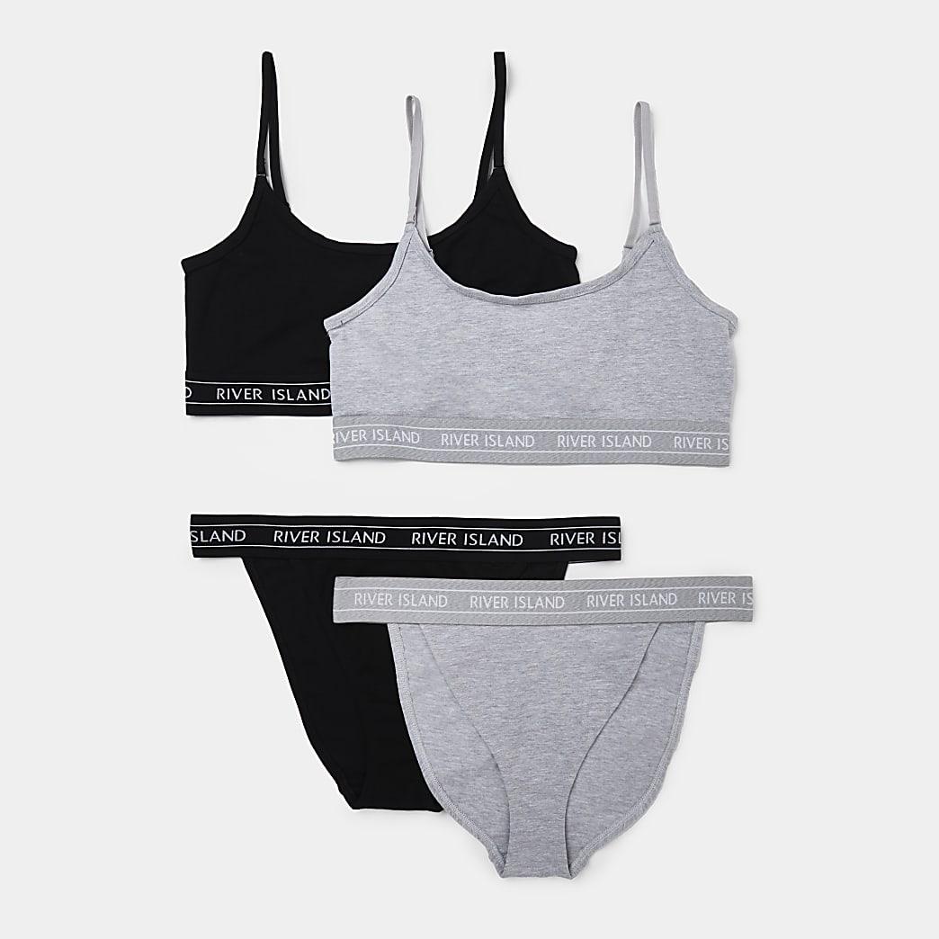 Grey RI pack of 2 bralet and brief set