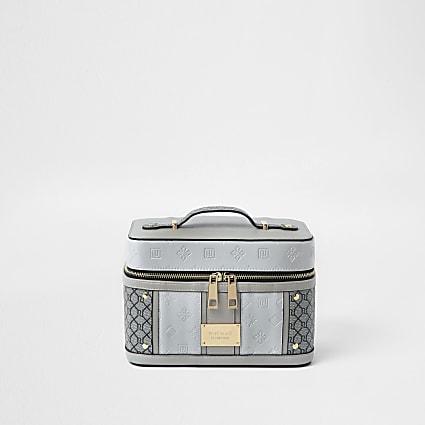 Grey RI patent monogram vanity case