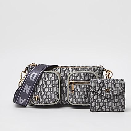 Grey RI pocket pouchette cross body bag