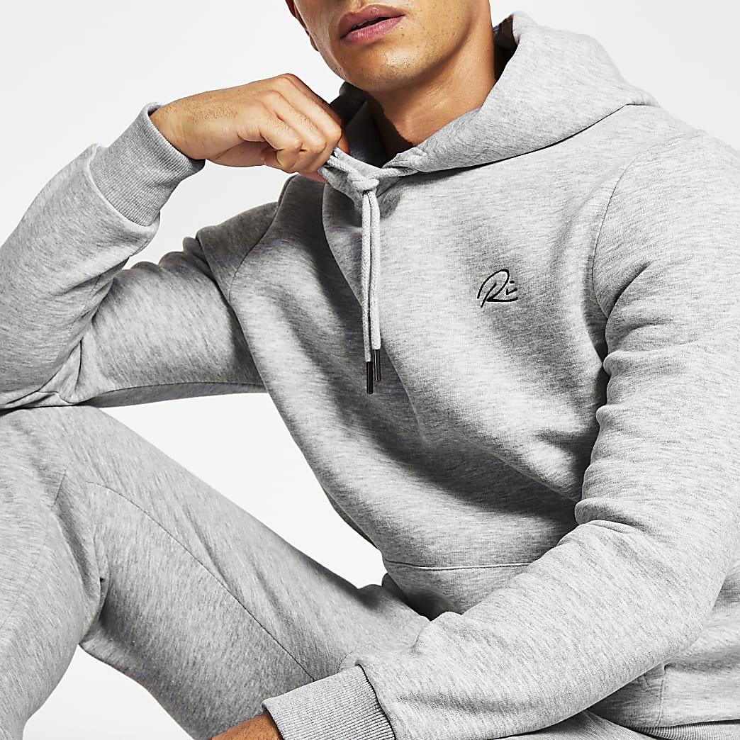 Grey RI print hoodie
