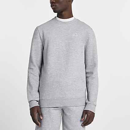 Grey RI script embellished sweatshirt