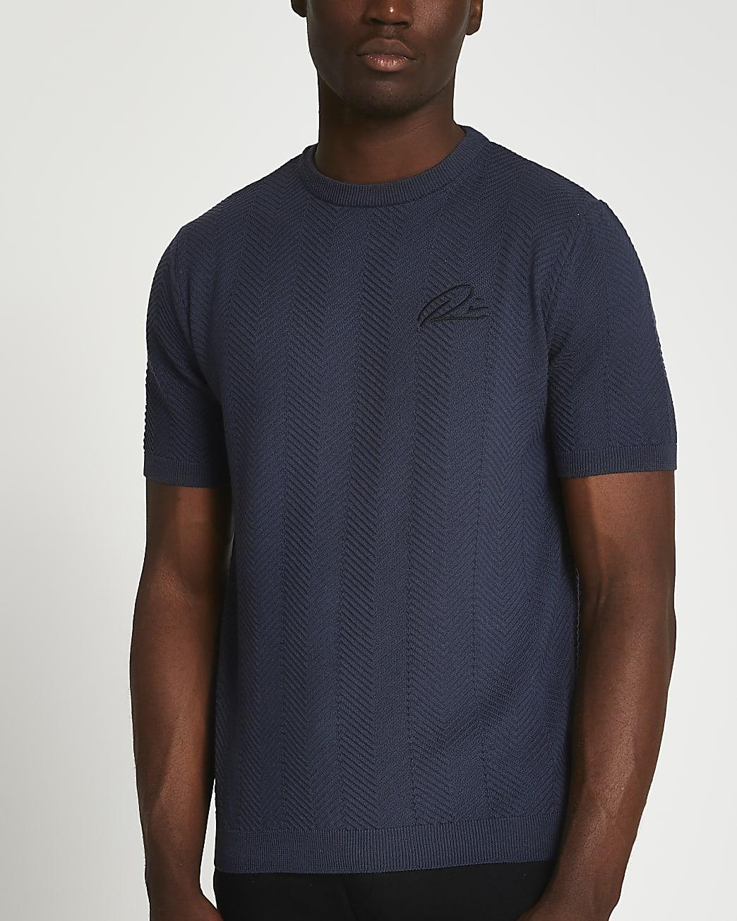Grey RI slim fit chevron t-shirt