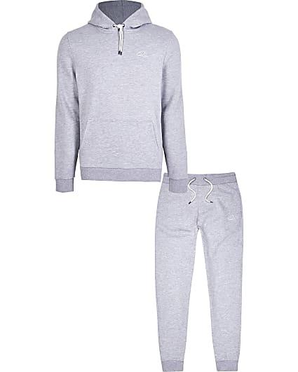 Grey RI slim fit hoodie and jogger set