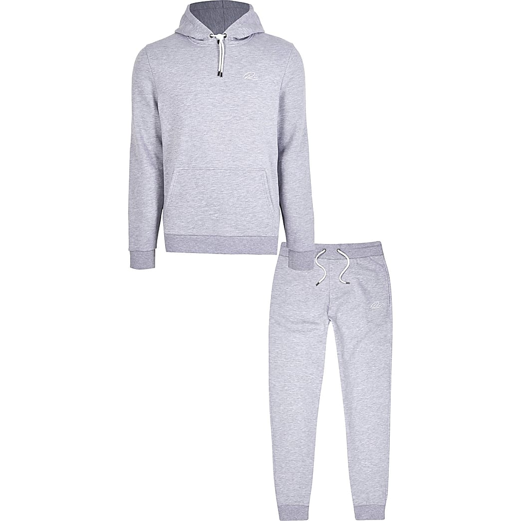 Grey RI slim fit hoodie and jogger set