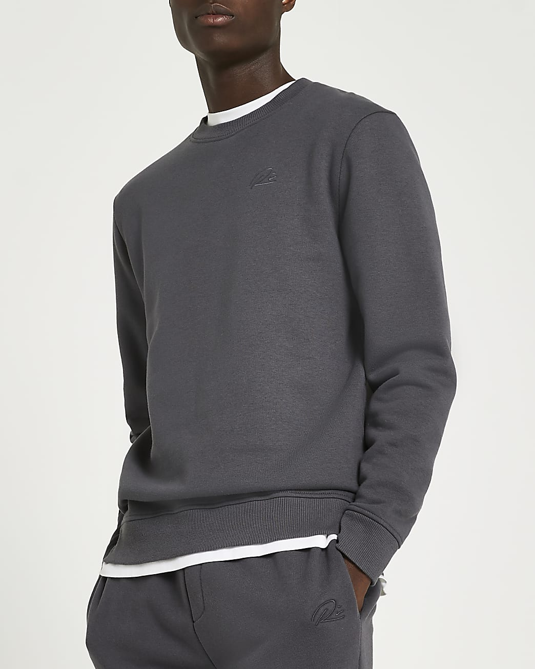 Grey RI slim fit sweatshirt
