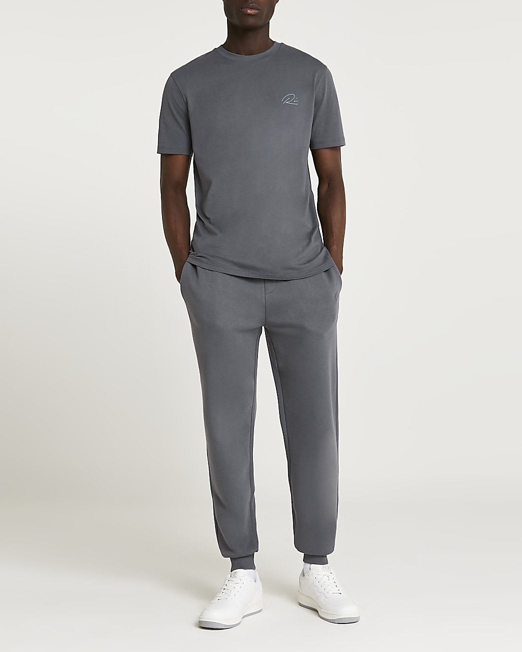 Grey RI slim fit t-shirt and joggers set