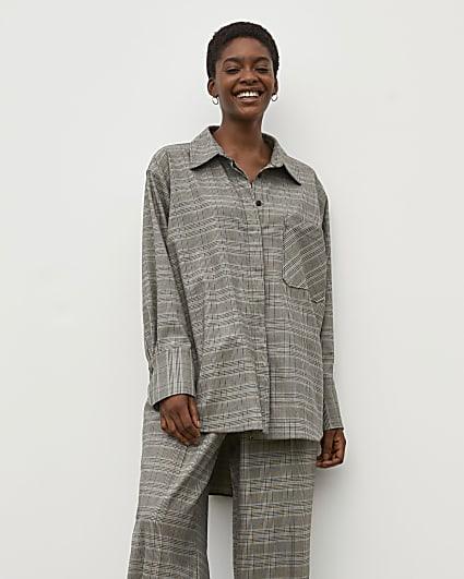 Grey RI Studio Check High Low Shirt