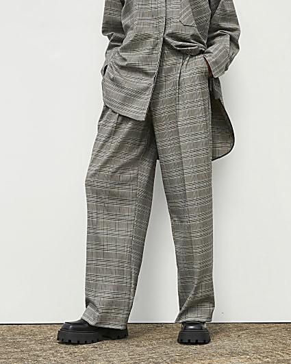 Grey RI Studio Check Wide Leg Trousers