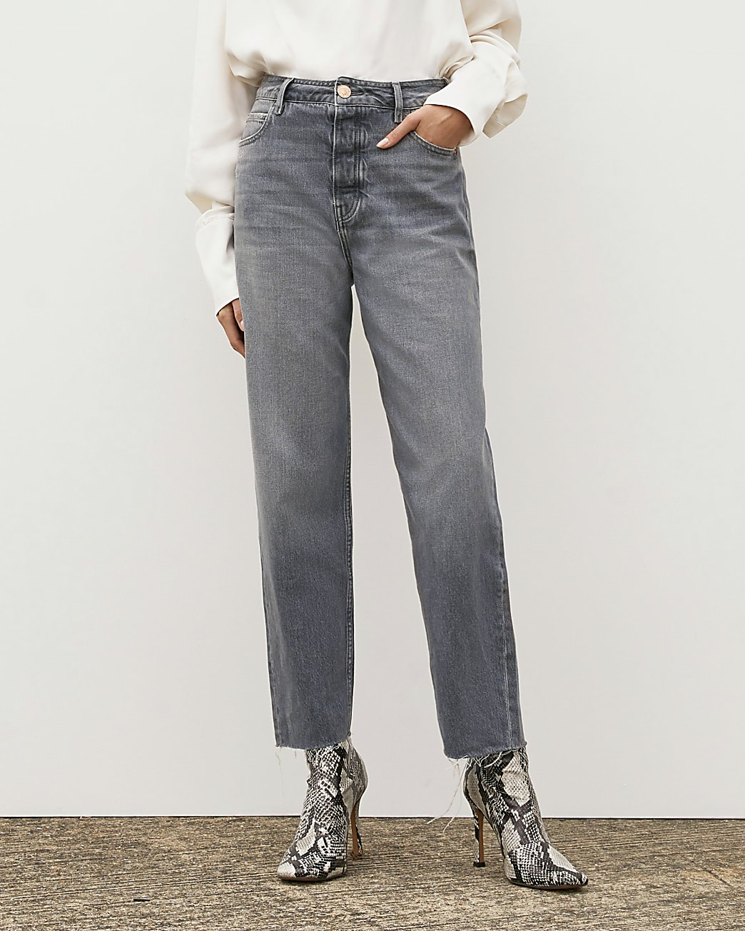 Grey RI Studio High Waisted Straight Jeans