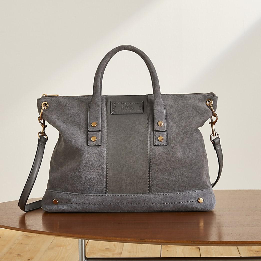 Grey RI Studio soft leather tote handbag