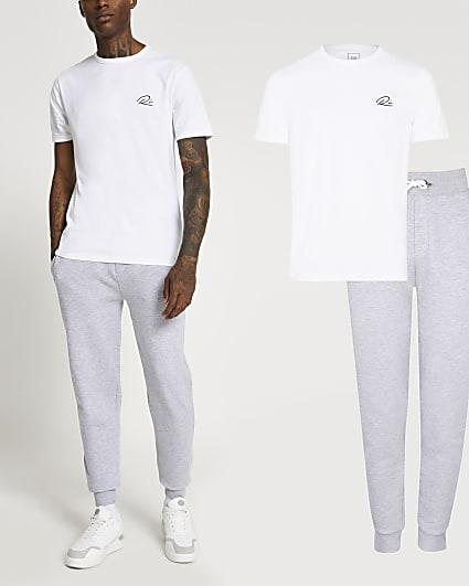 Grey RI t-shirt and joggers set
