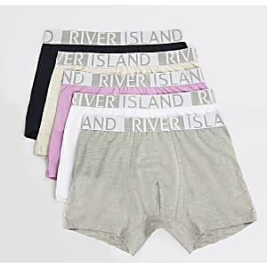 Lot de 5 boxers longs gris à logo RI à la taille