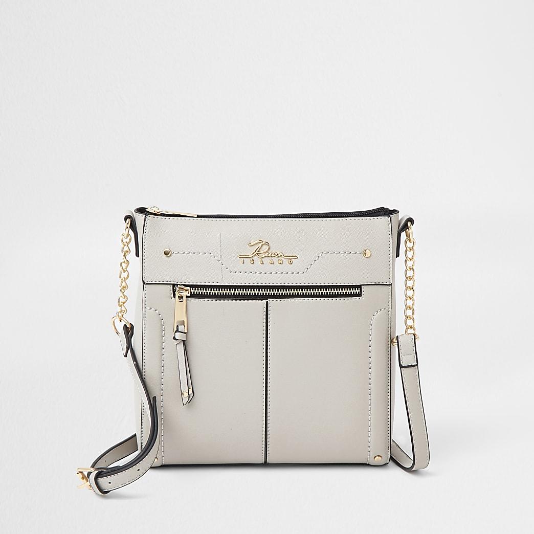 Grey RI zip pocket messenger handbag