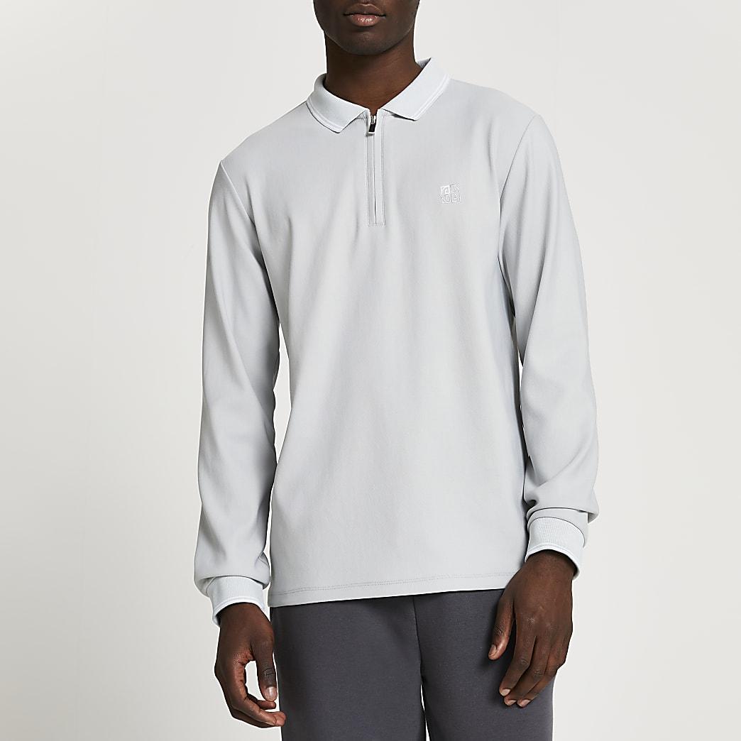 Grey RI zip slim fit long sleeve polo shirt