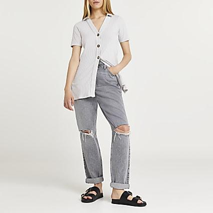 Grey ribbed longline polo neck cardigan