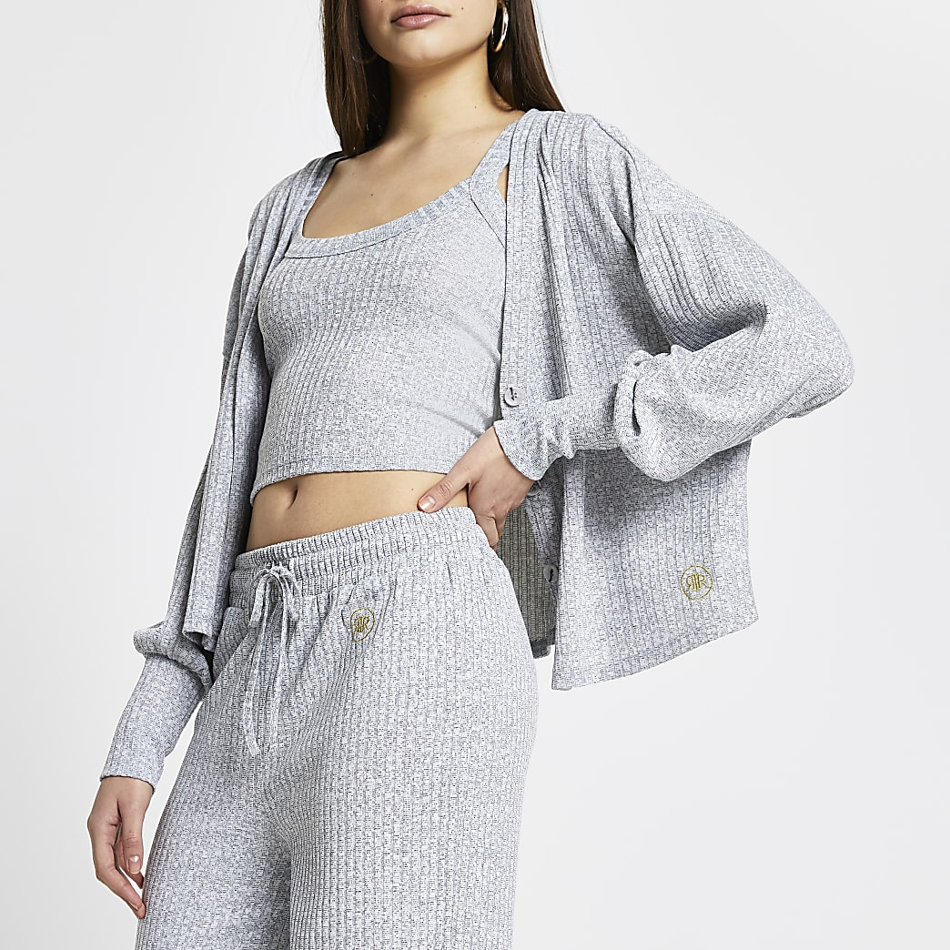 Grey ribbed lounge cardigan and vest