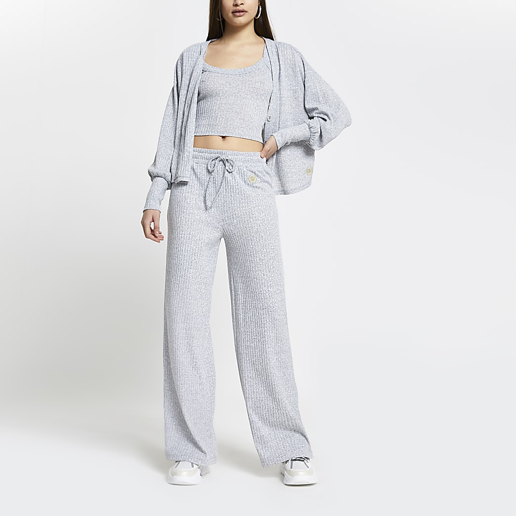 Grey ribbed loungewear trousers