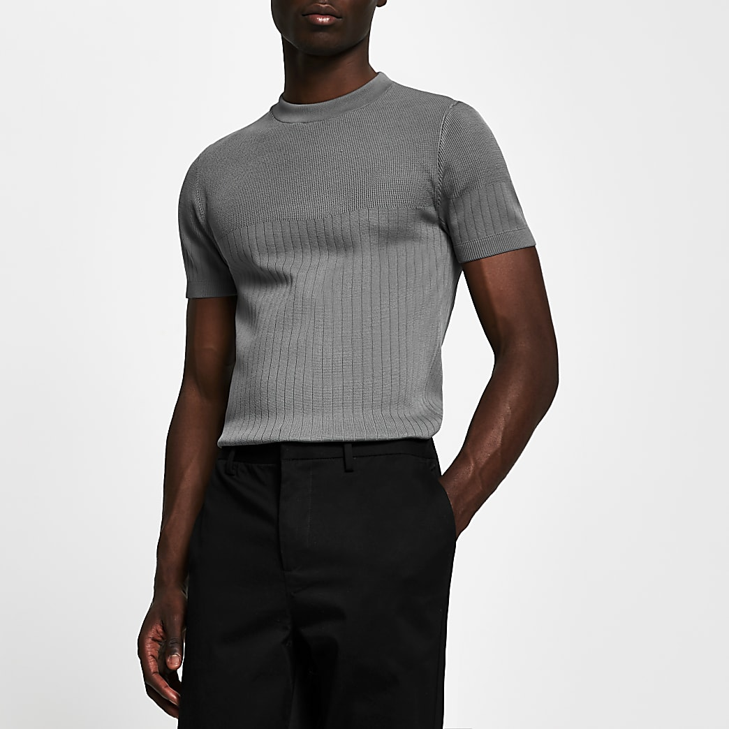 Grey ribbed muscle fit knitted t-shirt