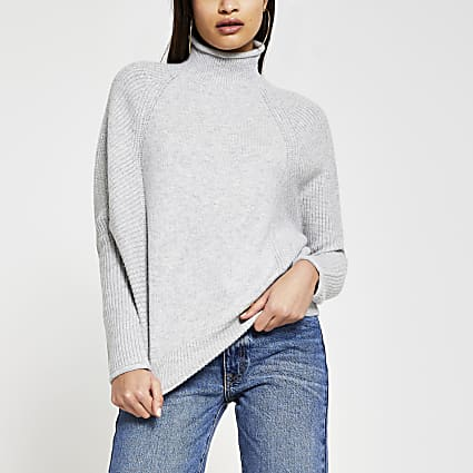 Grey ribbed panel RI jumper