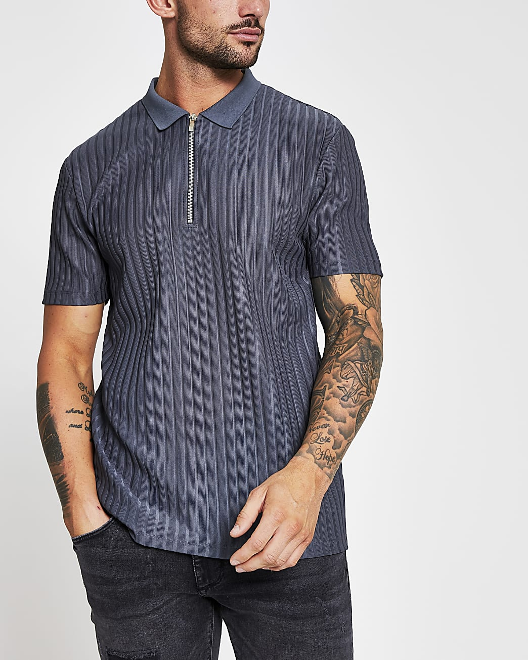 Grey ribbed slim fit short sleeve polo shirt