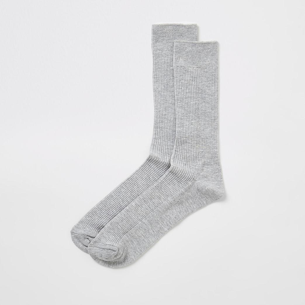 Grijze geribbelde sokken